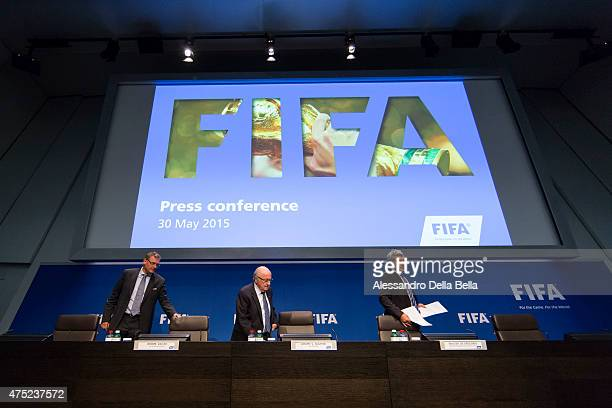 Jerome Valcke FIFA general secretary Joseph S Blatter FIFA President and Walter de Gregorio head of media from left arrive to the FIFA Post Congress...