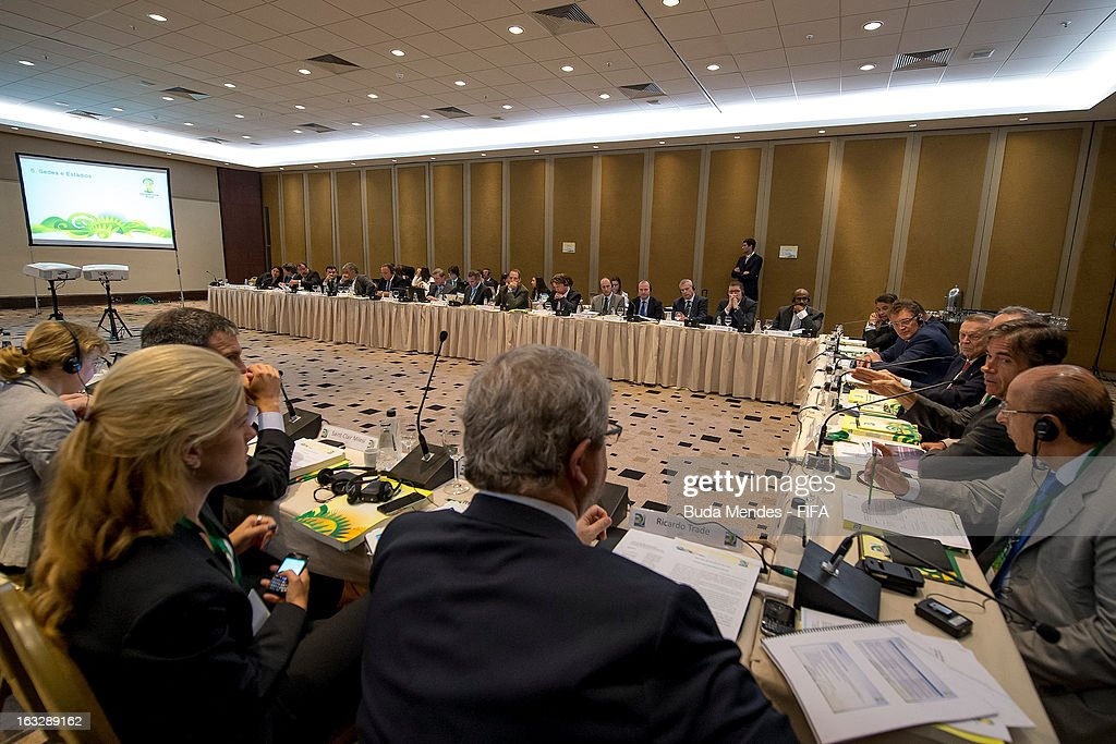 Jerome Valcke, FIFA Secretary General (2rd L) and Jose Maria Marin, CBF President (3rd L) attend the LOC Management Board Meeting during 2014 FIFA World Cup Host City Tour on March 7, 2013 in Rio de Janeiro, Brazil.