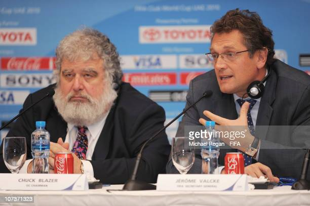 Jerome Valcke FIFA Secretary General speaks to the media alongside OC Chairman and FIFA Executive Committee member Chuck Blazer during the Post...