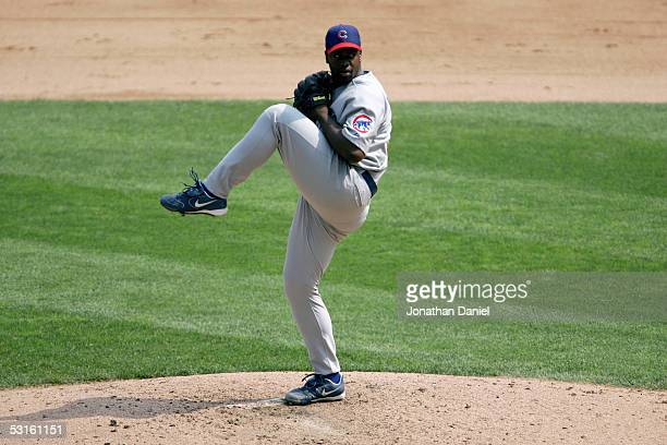 Jerome Williams of the Chicago Cubs pitches during the game with the Chicago White Sox on June 26 2005 at US Cellular Field in Chicago Illinois The...