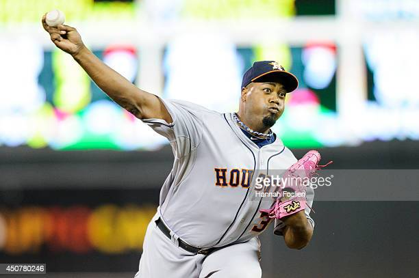 Jerome Williams of the Houston Astros delivers a pitch against the Minnesota Twins during the game on June 6 2014 at Target Field in Minneapolis...