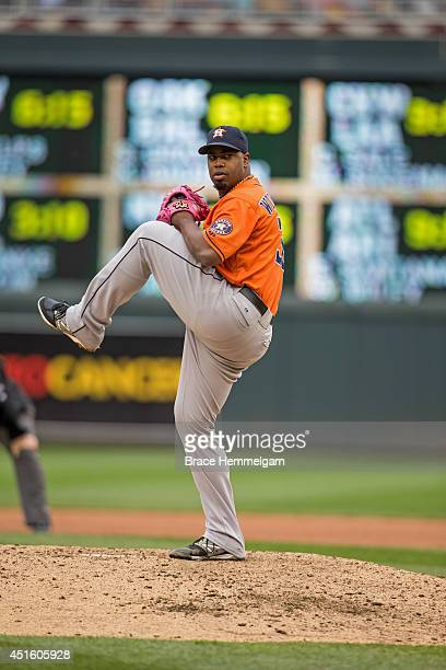 Jerome Williams of the Houston Astros pitches against the Minnesota Twins on June 7 2014 at Target Field in Minneapolis Minnesota The Twins defeated...