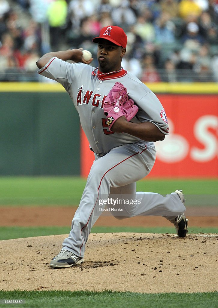 <a gi-track='captionPersonalityLinkClicked' href=/galleries/search?phrase=Jerome+Williams+-+Baseball+Player&family=editorial&specificpeople=15260950 ng-click='$event.stopPropagation()'>Jerome Williams</a> #57 of the Los Angeles Angels of Anaheim pitches against the Chicago White Sox during the first inning on May 11, 2013 at U.S. Cellular Field in Chicago, Illinois.