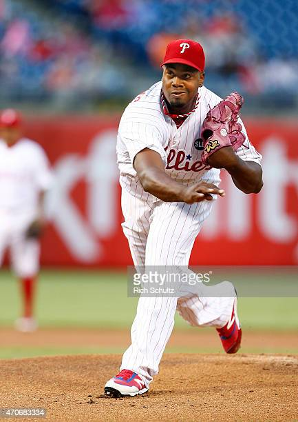 Jerome Williams of the Philadelphia Phillies on the mound against the Miami Marlins during the first inning of a game at Citizens Bank Park on April...