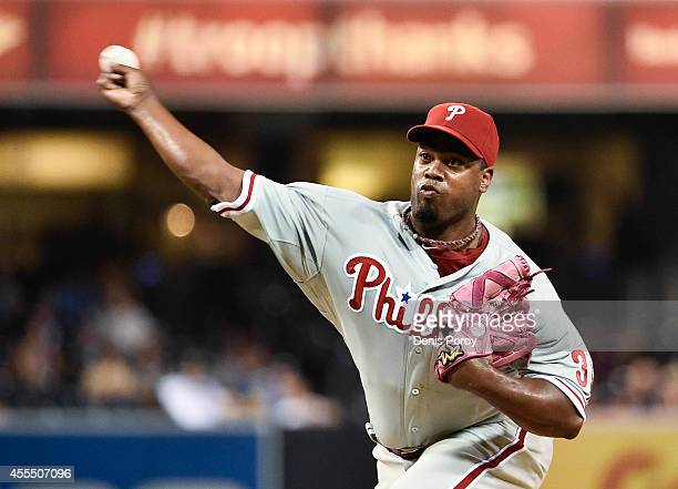 Jerome Williams of the Philadelphia Phillies pitches during the first inning of a baseball game against the San Diego Padres at Petco Park September...