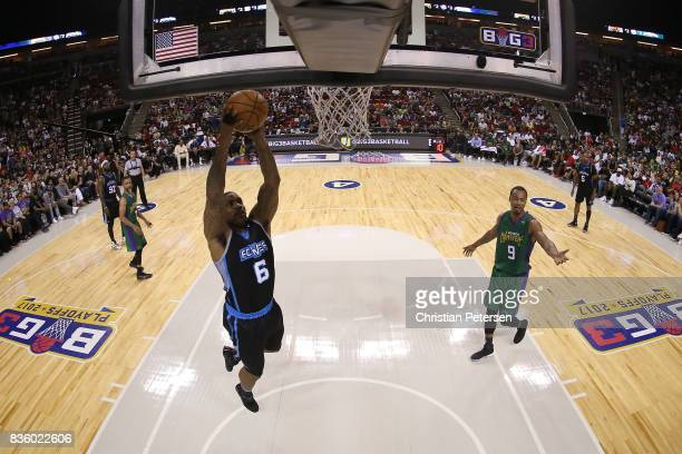 Jerome Williams of the Power dunks the ball in the game against the 3 Headed Monsters in week nine of the BIG3 threeonthree basketball league at...