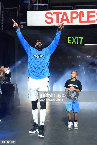 Jerome Williams of the Power is introduced during week eight of the BIG3 three on three basketball league at Staples Center on August 13 2017 in Los...