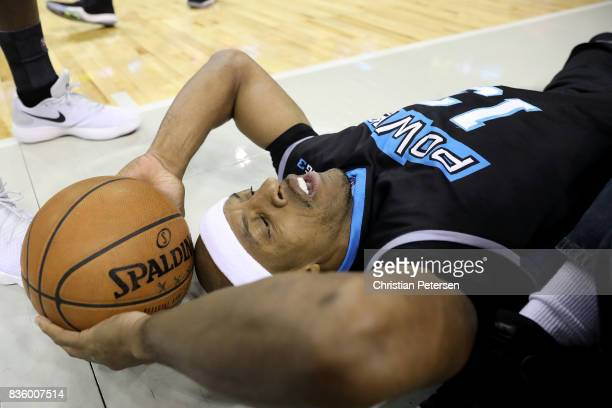 Jerome Williams of the Power lays on the ground after diving for the ball in the game against the 3 Headed Monsters in week nine of the BIG3...