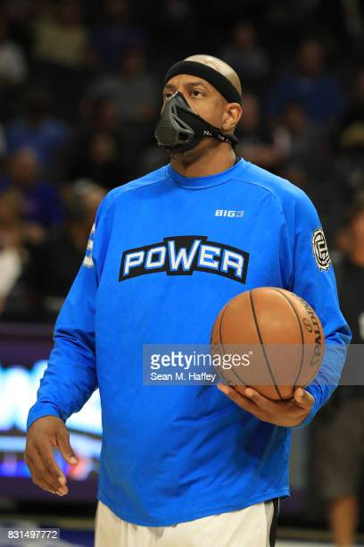 Jerome Williams of the Power warms up prior to his game against the TriState during week eight of the BIG3 three on three basketball league at...
