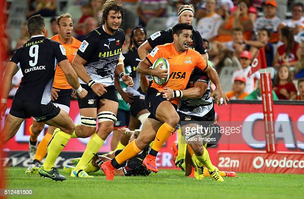 Jeronimo De la Fuente of the Jaguares on attack during the 2016 Super Rugby match between Toyota Cheetahs and Jaguares at Toyota Stadium on February...