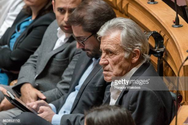 Jeronimo de Souza parliamentarian and Secretary General of the Portuguese Communist Party listens to Portuguese Prime Minister Antonio Costa answers...