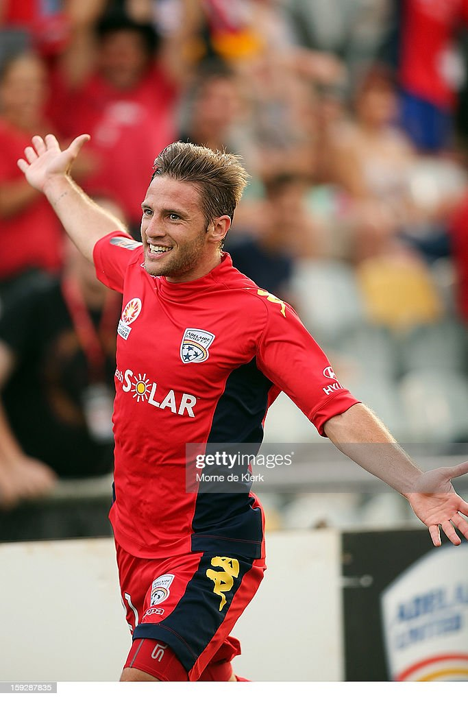 Jeronimo Neumann of Adelaide celebrates after he scored a goal during the round 16 A-League match between Adelaide United and the Perth Glory at Hindmarsh Stadium on January 11, 2013 in Adelaide, Australia.