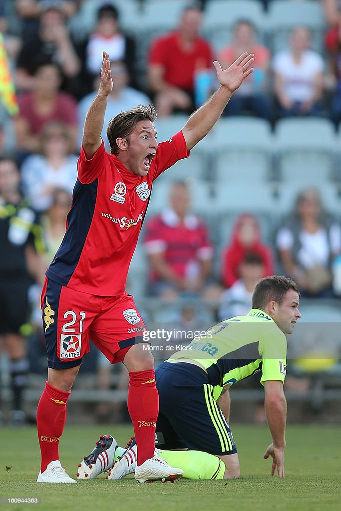Jeronimo Neumann of Adelaide reacts during the round 20 A-League match between Adelaide United and the Melbourne Victory at Hindmarsh Stadium on February 8, 2013 in Adelaide, Australia.
