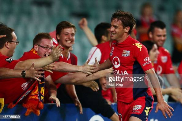 Jeronimo Neumann of United celebrates with fans after scoring the third goal during the round 18 ALeague match between Sydney FC and Adelaide United...