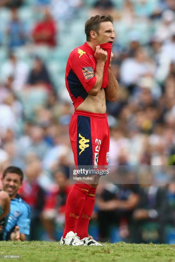 Jeronimo Neumann of United reacts after a missed shot on goal during the round 21 A-League match between Sydney FC and Adelaide United at Allianz Stadium on February 16, 2013 in Sydney, Australia.