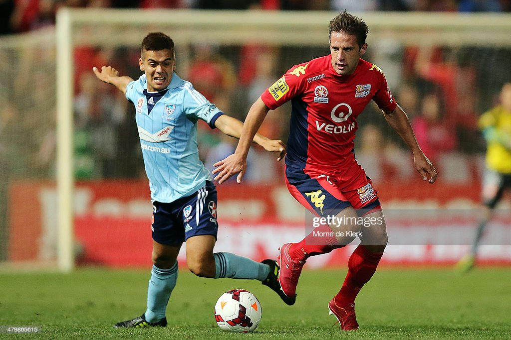 Jeronimo Nuemann of Adelaide wins the ball during the round 24 A-League match between Adelaide United and Sydney FC at Coopers Stadium on March 21, 2014 in Adelaide, Australia.