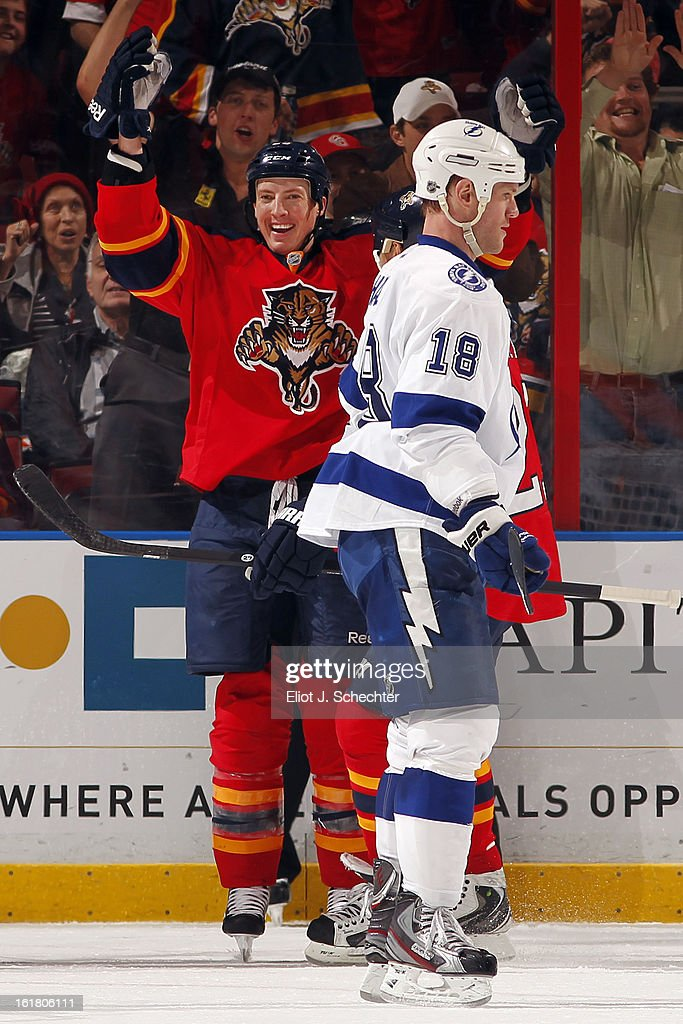 Jerred Smithson #25 of the Florida Panthers celebrates his goal against the Tampa Bay Lightning at the BB&T Center on February 16, 2013 in Sunrise, Florida.