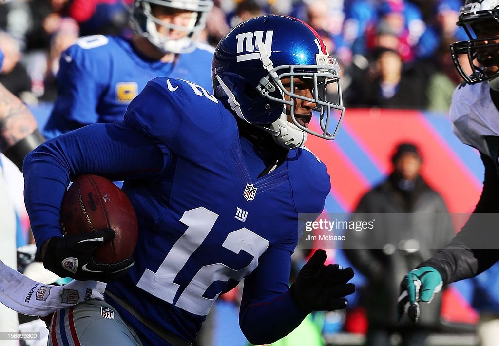 Jerrel Jernigan #12 of the New York Giants in action against the Philadelphia Eagles at MetLife Stadium on December 30, 2012 in East Rutherford, New Jersey. The Giants defeated the Eagles 42-7.