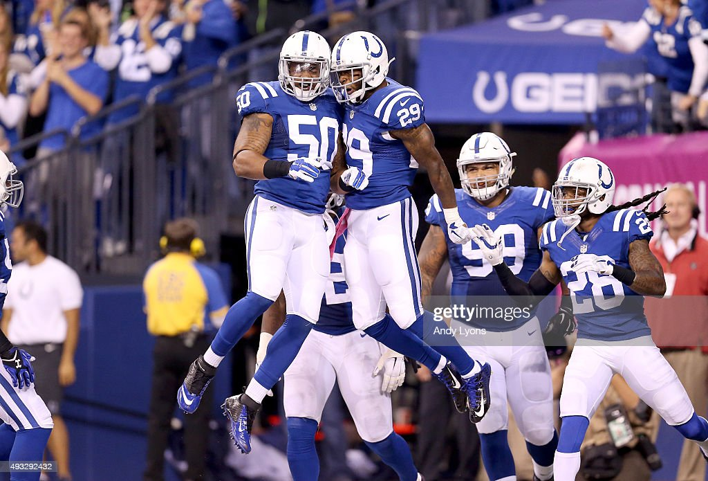 <a gi-track='captionPersonalityLinkClicked' href=/galleries/search?phrase=Jerrell+Freeman&family=editorial&specificpeople=5441871 ng-click='$event.stopPropagation()'>Jerrell Freeman</a> #50 and Mike Adams #29 of the Indianapolis Colts celebrate after Adams returned an interception for a touchdown against the New England Patriots at Lucas Oil Stadium on October 18, 2015 in Indianapolis, Indiana.