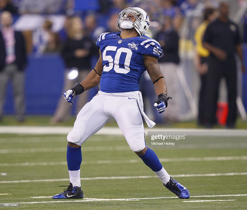 <a gi-track='captionPersonalityLinkClicked' href=/galleries/search?phrase=Jerrell+Freeman&family=editorial&specificpeople=5441871 ng-click='$event.stopPropagation()'>Jerrell Freeman</a> #50 of the Indianapolis Colts celebrates a sack during the game against the Jacksonville Jaguars at Lucas Oil Stadium on December 29, 2013 in Indianapolis, Indiana.