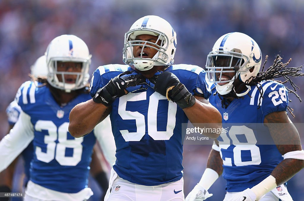 Jerrell Freeman of the Indianapolis Colts celebrates after a defensive stop during the game against the Cincinnati Bengals at Lucas Oil Stadium on...