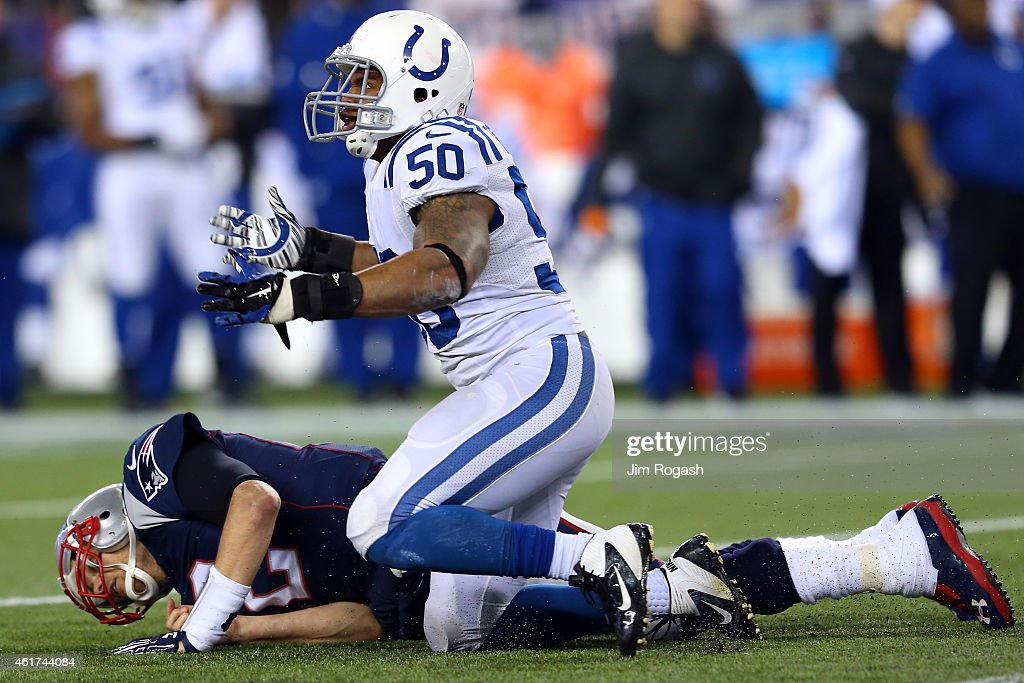 <a gi-track='captionPersonalityLinkClicked' href=/galleries/search?phrase=Jerrell+Freeman&family=editorial&specificpeople=5441871 ng-click='$event.stopPropagation()'>Jerrell Freeman</a> #50 of the Indianapolis Colts reacts after being called for roughing the passer after a hit on <a gi-track='captionPersonalityLinkClicked' href=/galleries/search?phrase=Tom+Brady+-+Football-Spieler+-+Quarterback&family=editorial&specificpeople=201737 ng-click='$event.stopPropagation()'>Tom Brady</a> #12 of the New England Patriots in the second quarter of the 2015 AFC Championship Game at Gillette Stadium on January 18, 2015 in Foxboro, Massachusetts.