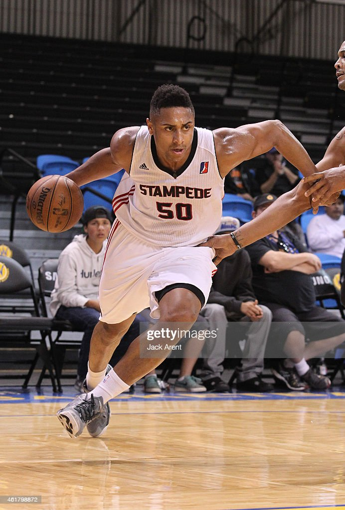 Jerrelle Benimon of the Idaho Stampede dribbles the ball against the Fort Wayne Mad Ants during 2015 NBA DLeague Showcase presented by SAMSUNG on...