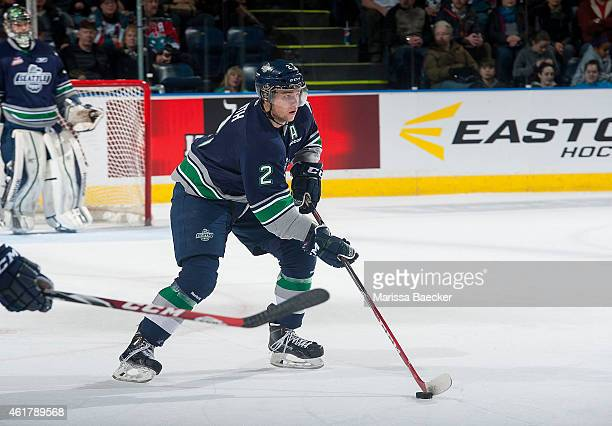 Jerret Smith of Seattle Thunderbirds skates with the puck against the Kelowna Rockets on January 16 2015 at Prospera Place in Kelowna British...
