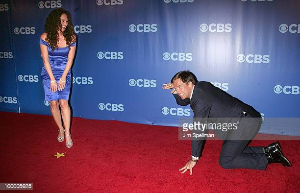 Jerri Manthey and Actor Michael Weatherly attend the 2010 CBS Upfront at The Tent at Lincoln Center on May 19 2010 in New York City
