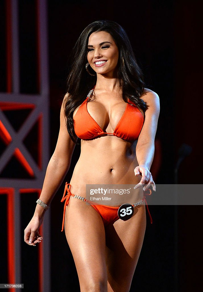Jerrica Martin of Mission Valley, California competes during the 17th annual Hooters International Swimsuit Pageant at The Joint inside the Hard Rock Hotel & Casino on June 27, 2013 in Las Vegas, Nevada.