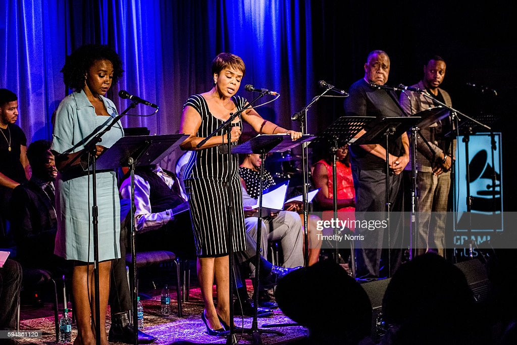 Jerrika Hinton Paula Newsome Barry Shabaka Henley and Dorian Missick perform during A Tribute To Langston Hughes at The GRAMMY Museum on August 22...