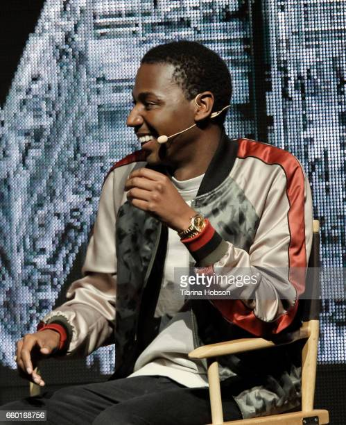 Jerrod Carmichael speaks at Paramount Pictures' presentation highlighting its 2017 summer and beyond during CinemaCon at The Colosseum at Caesars...