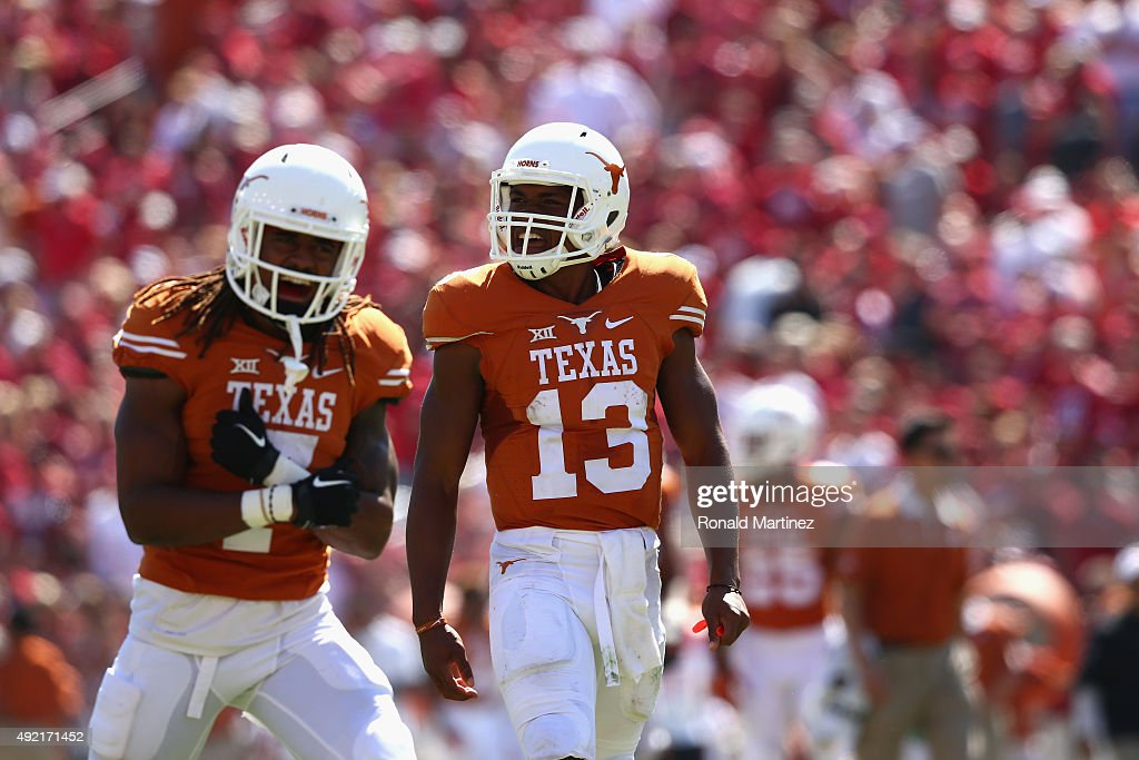 Jerrod Heard of the Texas Longhorns reacts during the 2015 ATT Red River Showdown against the Oklahoma Sooners at Cotton Bowl on October 10 2015 in...