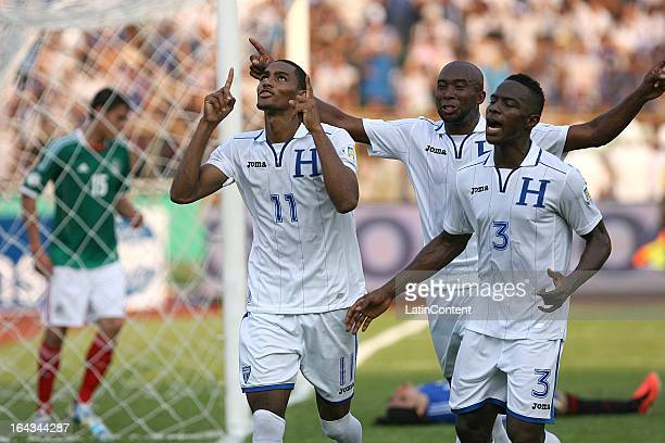 Jerry Bengtson and Maynor Figueroa of Honduras celebrates a goal during a match between Mexico and Honduras as part of the Concacaf Qualifiers at...