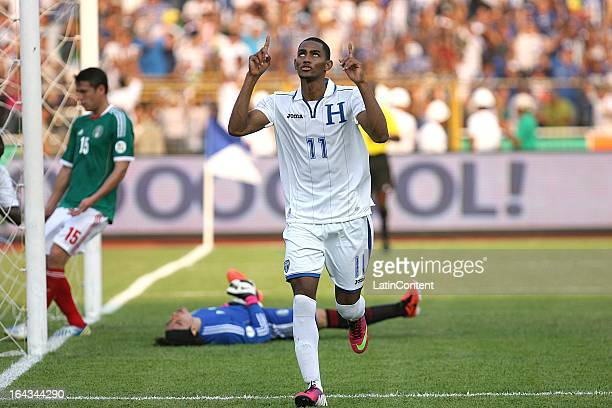 Jerry Bengtson of Honduras celebrates a goal during a match between Mexico and Honduras as part of the Concacaf Qualifiers at Olimpico de San Pedro...