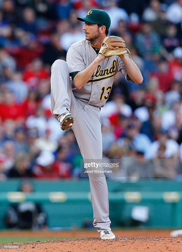 Jerry Blevins #13 of the Oakland Athletics pitches against the Boston Red Sox during the game on April 24, 2013 at Fenway Park in Boston, Massachusetts.