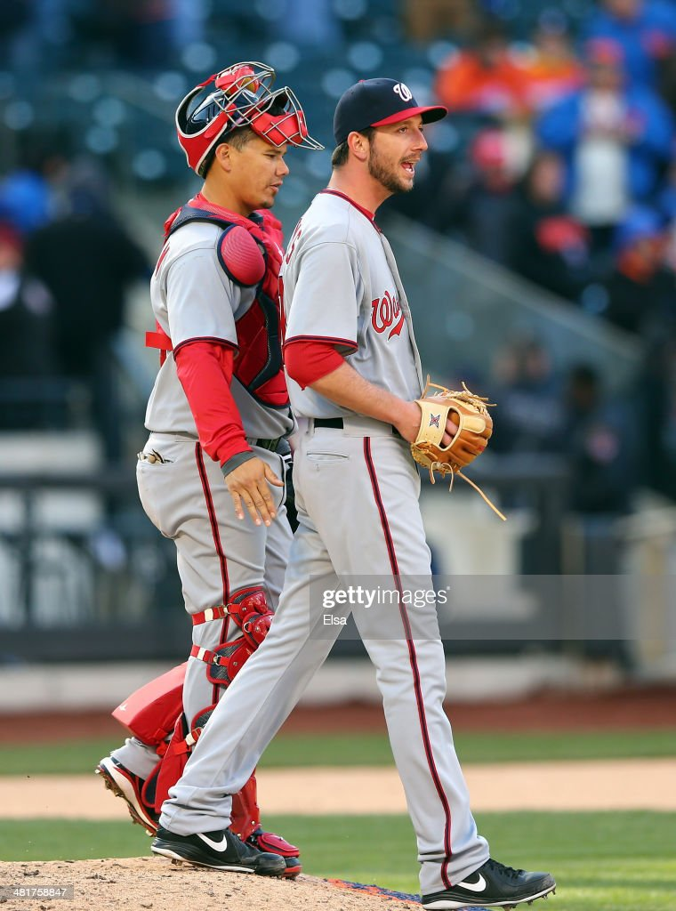 <a gi-track='captionPersonalityLinkClicked' href=/galleries/search?phrase=Jerry+Blevins&family=editorial&specificpeople=4525141 ng-click='$event.stopPropagation()'>Jerry Blevins</a> #13 of the Washington Nationals and teammate Jose Lobaton #59 celebrate the win over the New York Mets during Opening Day on March 31, 2014 at Citi Field in the Flushing neighborhood of the Queens borough of New York City.The Washington Nationals defeated the New York Mets 9-7 in 10 innings.