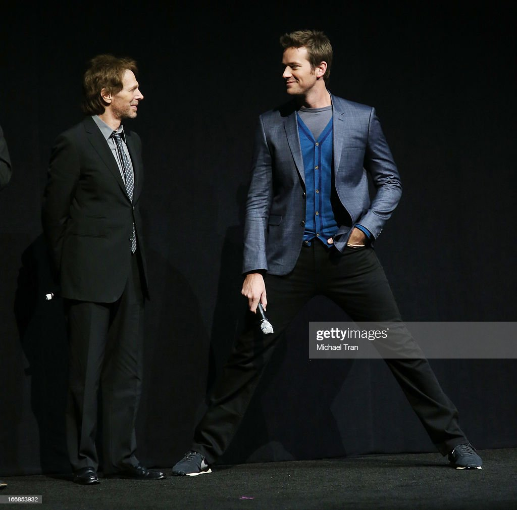 <a gi-track='captionPersonalityLinkClicked' href=/galleries/search?phrase=Jerry+Bruckheimer&family=editorial&specificpeople=203316 ng-click='$event.stopPropagation()'>Jerry Bruckheimer</a> (L) and <a gi-track='captionPersonalityLinkClicked' href=/galleries/search?phrase=Armie+Hammer&family=editorial&specificpeople=5313113 ng-click='$event.stopPropagation()'>Armie Hammer</a> appear at a Walt Disney Studios Motion Pictures presentation to promote the upcoming film 'The Lone Ranger' held at The Colosseum at Caesars Palace during CinemaCon, the official convention of the National Association of Theatre Owners on April 17, 2013 in Las Vegas, Nevada.