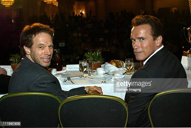 Jerry Bruckheimer and Arnold Schwarzenegger during 40th Annual Publicists Awards Luncheon at Beverly Hilton Hotel in Beverly Hills CA United States
