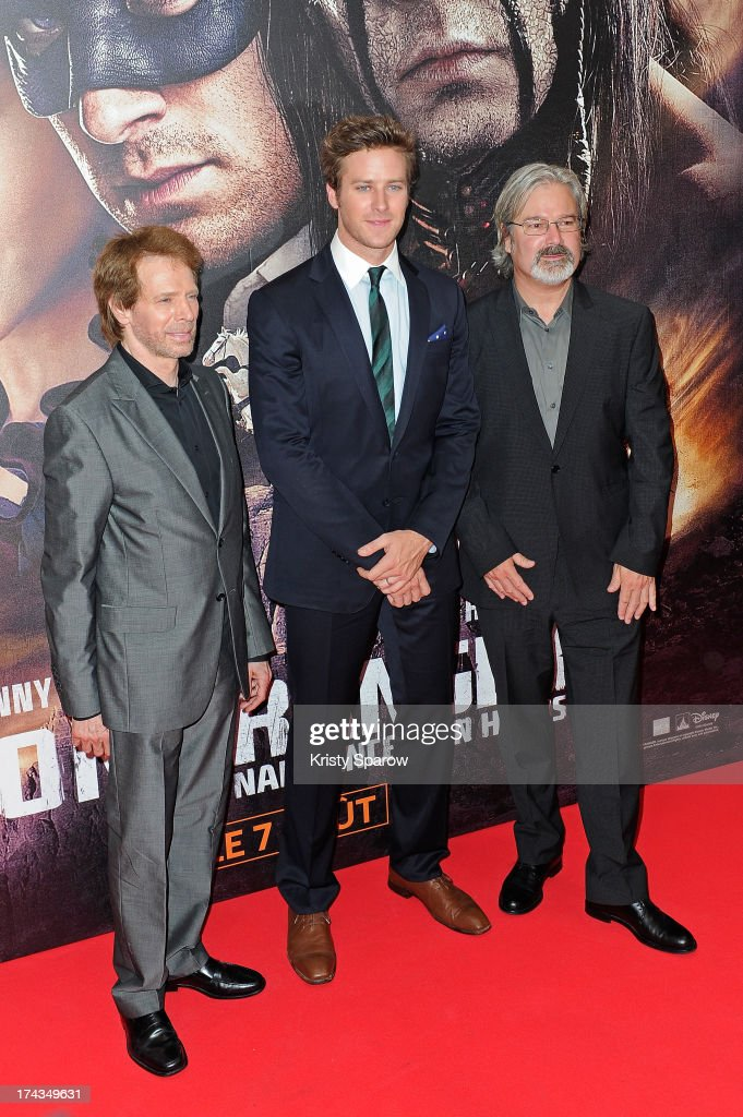 Jerry Bruckheimer, Armie Hammer and Gore Verbinski attend the Paris Premiere of 'The Lone Ranger' at Cinema UGC Normandie on July 24, 2013 in Paris, France.