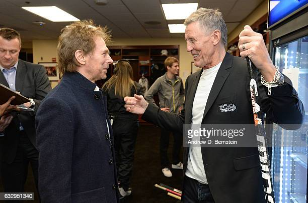 Jerry Bruckheimer left and Borje Salming talk in the locker room prior to the 2017 NHL AllStar Celebrity Shootout at Staples Center on January 28...