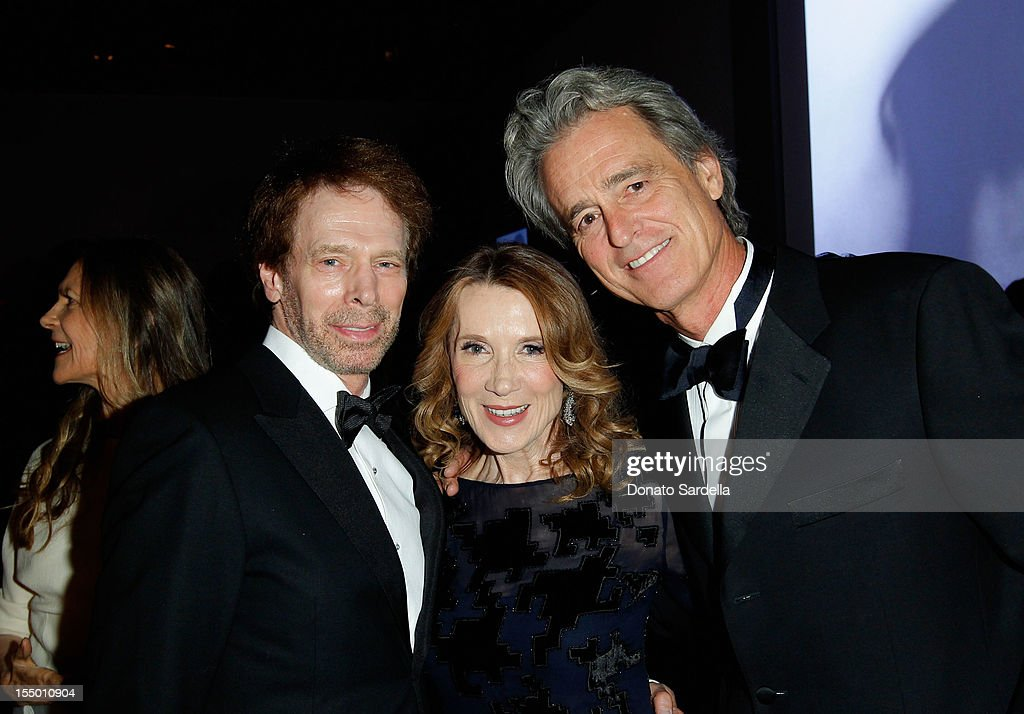 Jerry Bruckheimer, Linda Bruckheimer and Bobby Shriver attend LACMA 2012 Art + Film Gala Honoring Ed Ruscha and Stanley Kubrick presented by Gucci at LACMA on October 27, 2012 in Los Angeles, California.