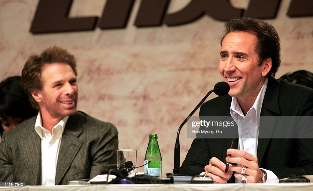 Jerry Bruckheimer producer and Nicolas Cage during 'National Treasure' Seoul Press Conference at Seoul Shilla Hotel in Seoul South South Korea