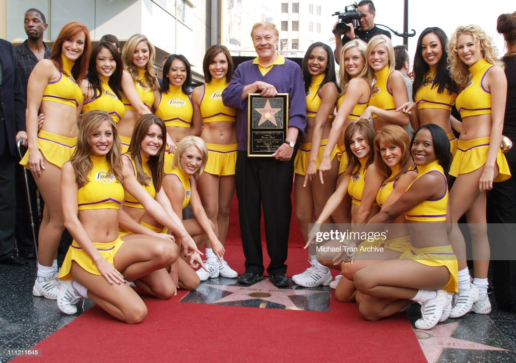 Jerry Buss and The Laker Girls during Jerry Buss Honored with a Star on the Hollywood Walk of Fame at 6801 Hollywood Blvd in front of Hollywood...