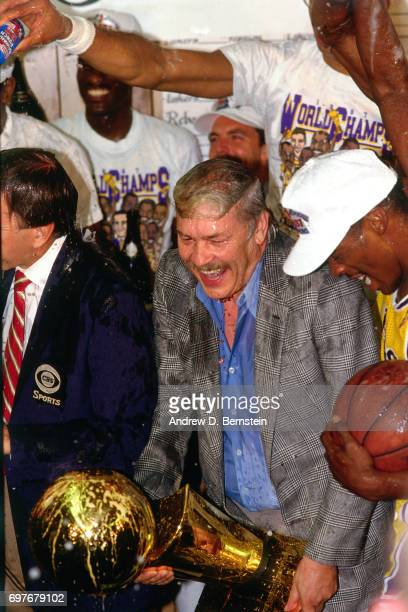 Jerry Buss Los Angeles Lakers owner celebrates with his team after the game against the Boston Celtics during 1987 NBA Finals at the Boston Garden in...