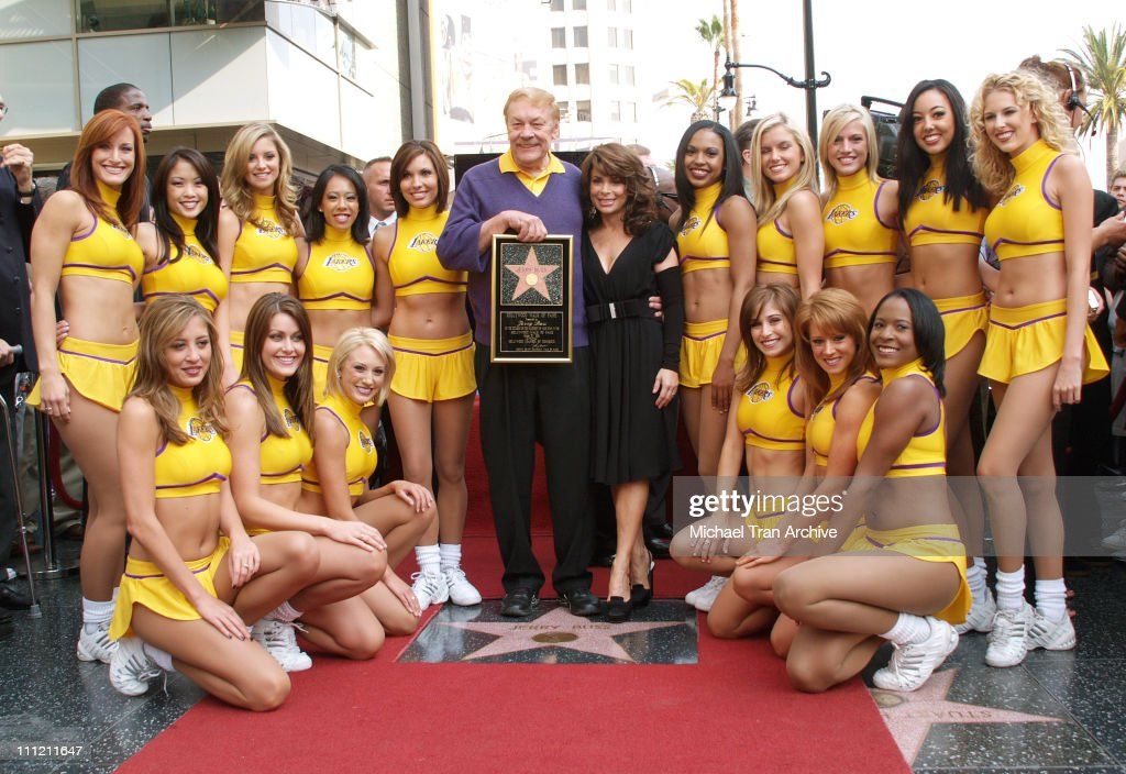 Jerry Buss Paula Abdul and The Laker Girls during Jerry Buss Honored with a Star on the Hollywood Walk of Fame at 6801 Hollywood Blvd in front of...