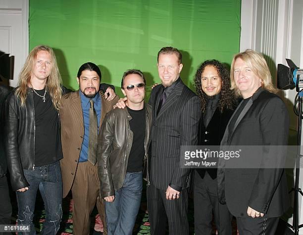 Jerry Cantrell with Robert Trujillo Lars Ulrich James Hetfield and Kirk Hammett of Metallica and producer Bob Rock