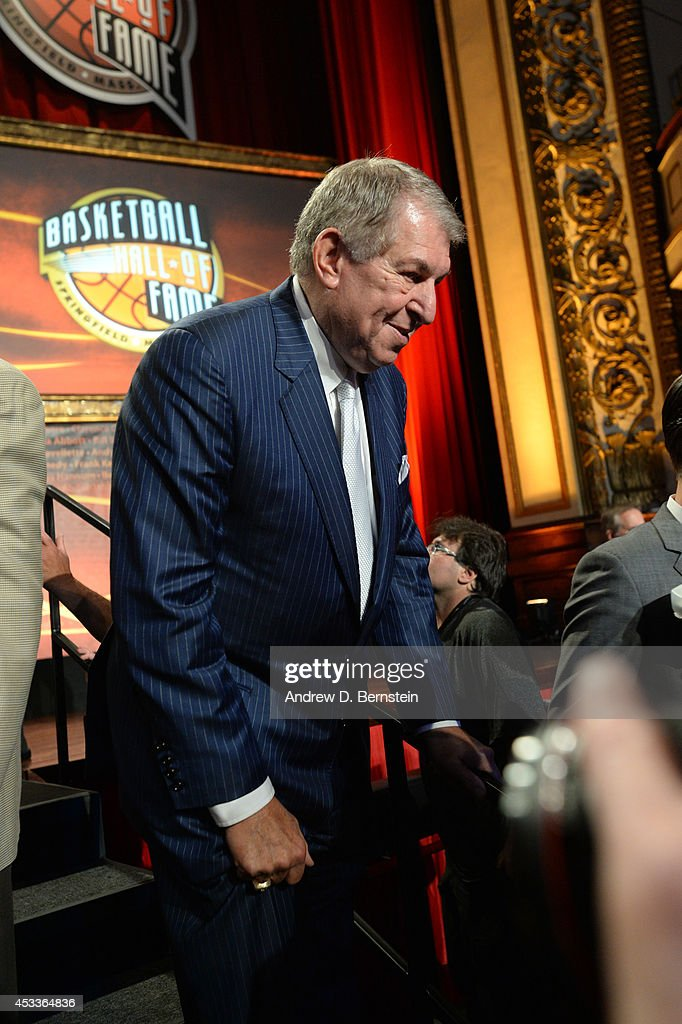 <a gi-track='captionPersonalityLinkClicked' href=/galleries/search?phrase=Jerry+Colangelo&family=editorial&specificpeople=216503 ng-click='$event.stopPropagation()'>Jerry Colangelo</a> during the 2014 Basketball Hall of Fame Enshrinement Ceremony on August 8, 2014 at the Mass Mutual Center in Springfield, Massachusetts.