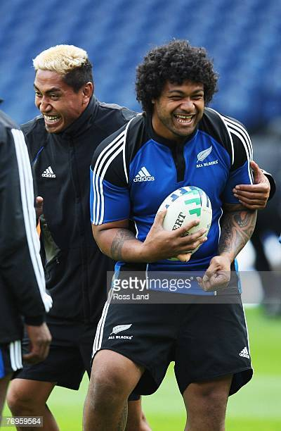 Jerry Collins and Sione Lauaki of the New Zealand All Blacks during training at Murryfield on September 22 2007 in Edinburgh Scotland