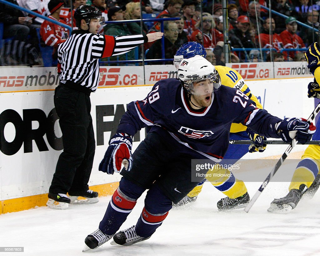 Jerry D'Amigo of Team USA celebrates his second period goal against Team Sweden during the 2010 IIHF World Junior Championship Tournament Semifinal...